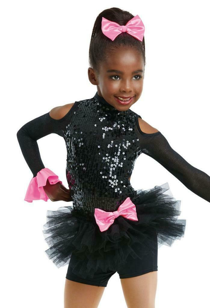Dance Costume Small//Intermediate Child Pink Yellow Sequin Tap Jazz DUET Weissman