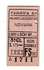 BIGLIETTO TICKET EDMONSON  MILANO   C.AG  COOP  NOVARA   TARIFFA  51   14-1-1956