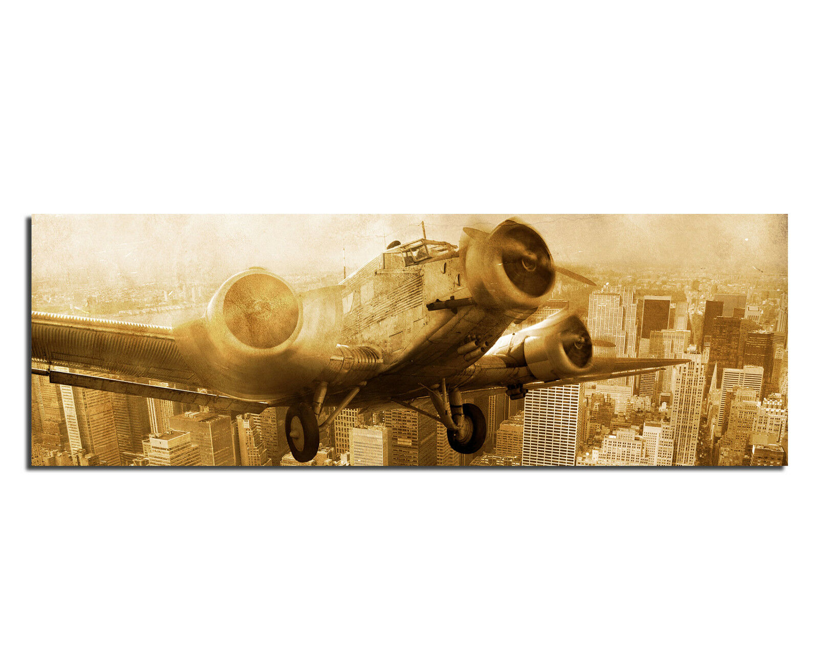 Wandbild Leinwand Bild Bilder Junkers 52 Flugzeug New York Wolkenkratzer Skyline
