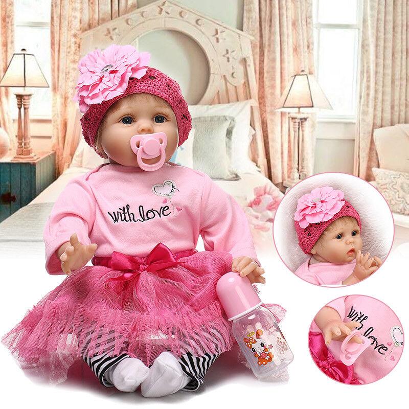 Reborn Puppe Lebensecht Neugeborenen Puppe Handgemachtes Mädchen Spielzeug 55CM
