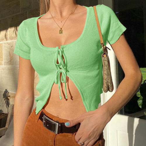 Womens Fashion Slim Knitted Cardigan Tees Lady Casual Shirt Streetwear Crop Tops