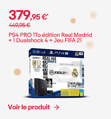PS4 PRO 1To édition Real Madrid + 1 Dualshock 4 + Jeu FIFA 21 - 379,95 €*