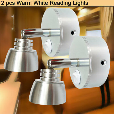 RV Automotive Black Switched LED Reading Sconce 12V 3w Soft Warm White Set of 2 12v-ledlight Unique Looking Bedside Light Fixtures