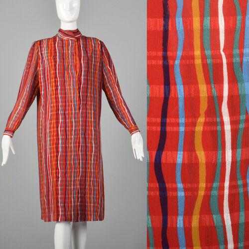 Medium Hanae Mori 1980s Colorful Shift Dress Vinta