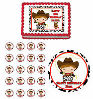 Cute Cowboy Western Edible 1st Birthday Cake Cupcake Toppers Party Decorations
