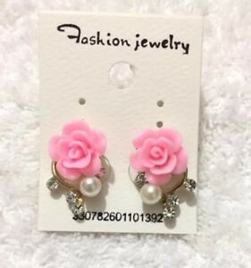Pink-Rose-Flower-Resin-Crystal-Womens-Girls-Stud-Earrings-Fashion-Jewelry-UK