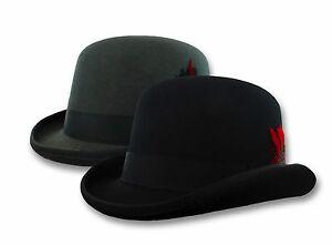 Black-Wool-Bowler-Derby-Hat-Mens-Dress-Tuxedo-Costume-S-M-L-XL-Steampunk
