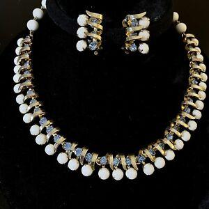 Modern-Summer-Necklace-amp-Earrings-Set-Prong-Set-Milk-Glass-amp-Blue-Rhinestones