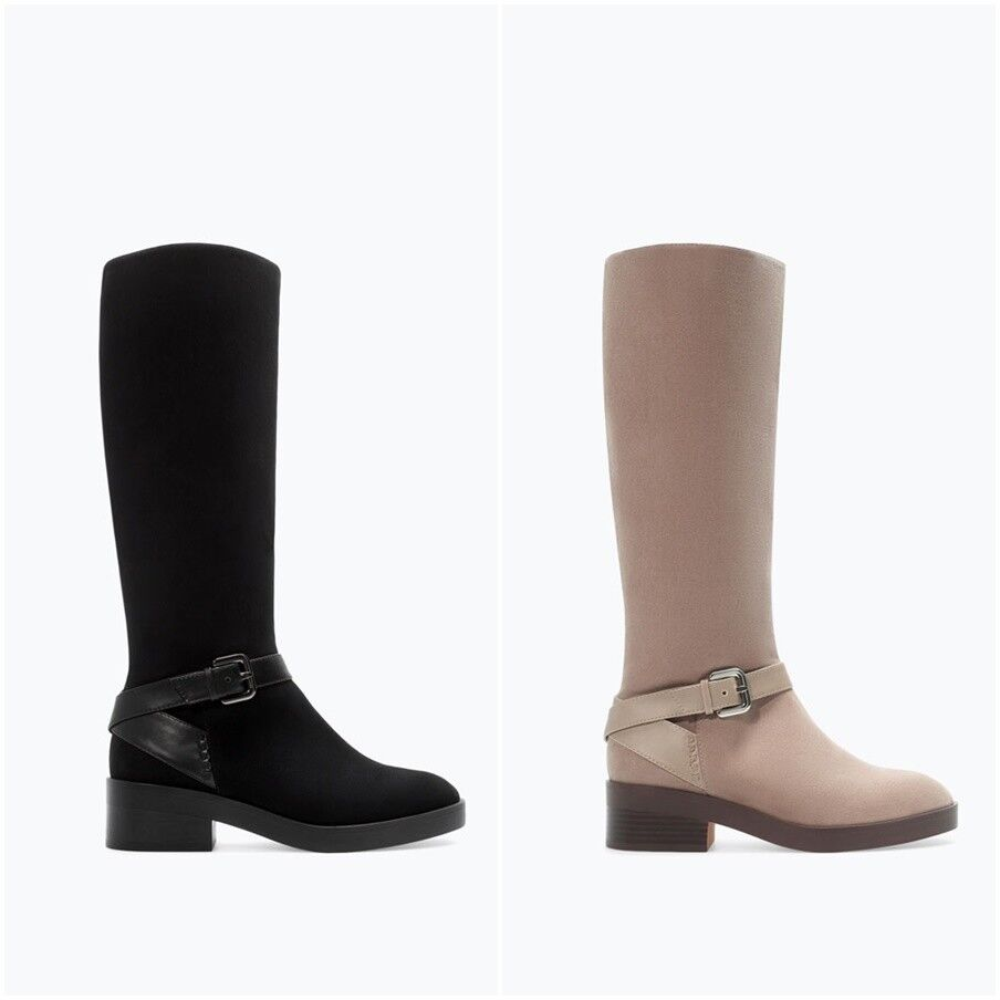 ZARA Women's Long Boots with buckle(Sand, Black, US 7.5/)