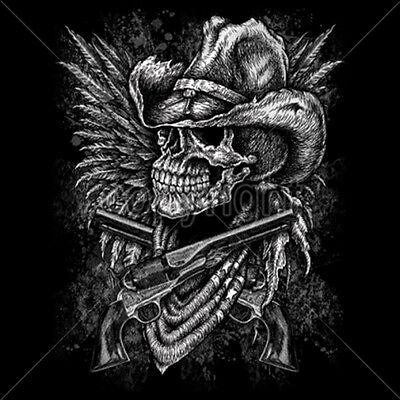 Gunslinger T-Shirt Horror Skull Horse Skeleton Cowboy Wild West Sheriff Gun D041