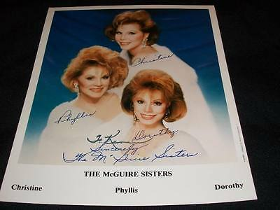 Autographs-original Rock & Pop Learned Christine Phyllis Dorothy The Mcguire Sisters Signed Auto Vintage 8x10 Photo C Modern Design