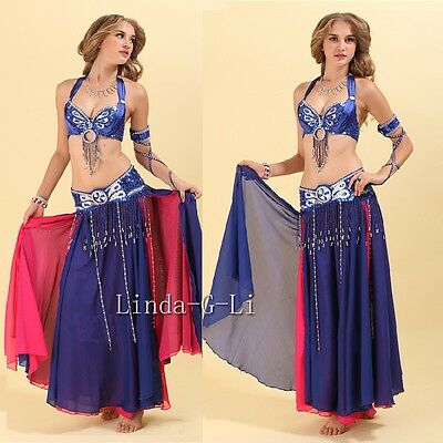 HOT Belly Dance Costume Beaded Sequins Top Bra US Size 32-34A//B//C 12 colours