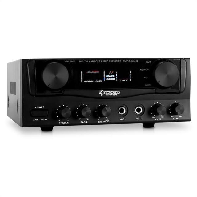 KARAOKE PARTY PA AMPLIFIER SOUND SYSTEM HIFI STEREO AMP 2x MICROPHONE INPUT 400W