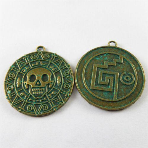 Weinlese Bronze Legierung Grün Runde Schädel Muster Kunst Anhänger Charme 10x