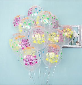 10x star clear neon colors latex balloons happy birthday b for B day decoration ideas