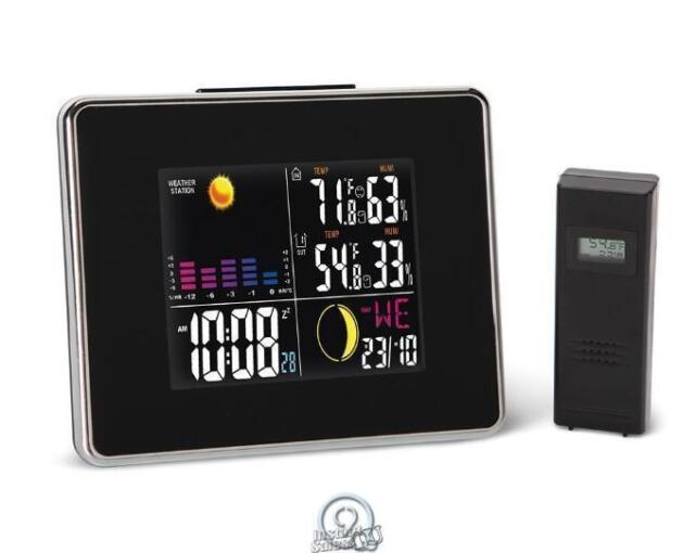 The Easy Read Weather Station Clock Remote Outdoor Sensor Color LCD W// Alarm