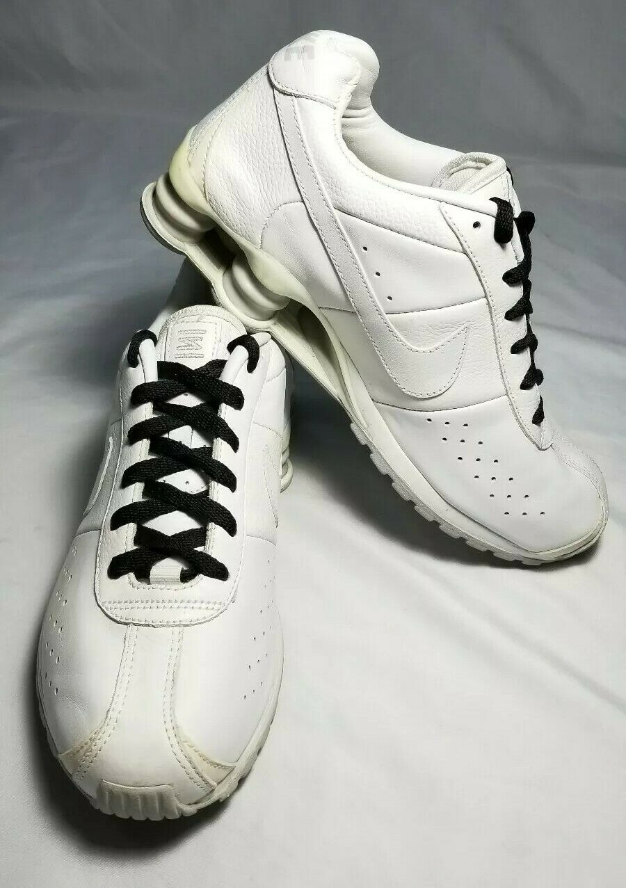 NIKE SHOX QS2 309354-111 All White Athletic shoes Mens Size 8 Rare