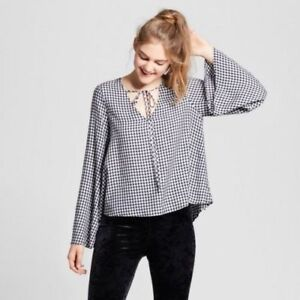 2a5ce5e2c5b243 NEW Mossimo Supply Co Women's Black White Gingham Tie Front Blouse ...