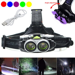 50000LM-Rechargeable-T6-2x-LED-Headlamp-Headlight-Torch-Lamp-USB-18650-Light
