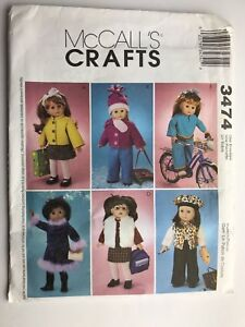 McCall-039-s-3474-18-inch-OOP-Girl-Doll-Clothes-Pattern-Fur-Vest-Fleece-Jacket-UNCUT