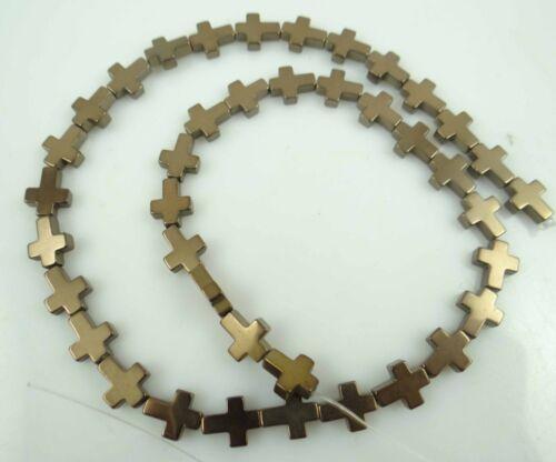 8*8mm Titanium Multicolored Hematite Gemstone cross Beads 16/'/'