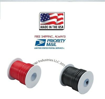 100/' X 2 ROLLS 18 GA PRIMARY WIRE RED AND BLACK INSULATED COPPER STRANDED USA