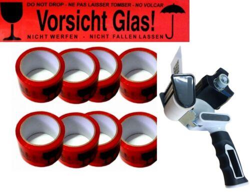 36x V48 66m Rollen Vorsicht Glas Rot Klebebänder Paket Band 1 Packbandroller