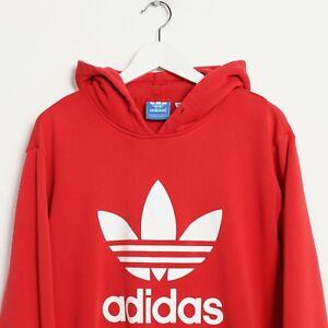 San Francisco 8bc89 ac637 Dettagli su Vintage Adidas Originali Grande Logo Felpa con Cappuccio Rosso  Large L