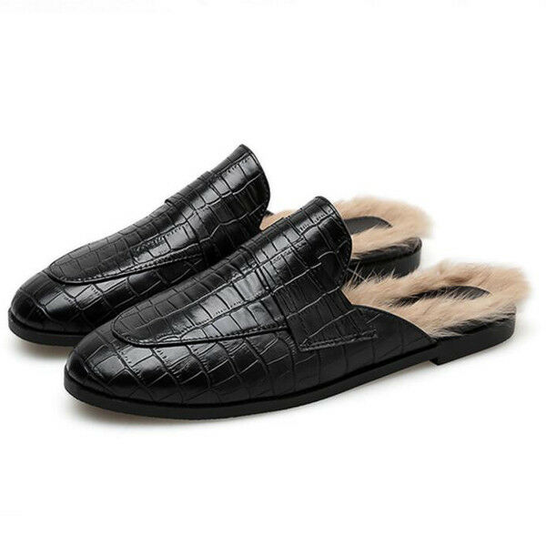 Ballerines mocassins chaussures pour femmes classique noir fourrure élégant et