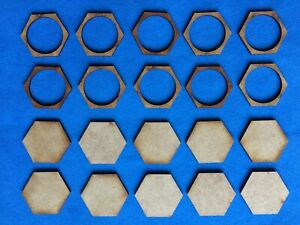 WARGAMES: HEXAGON 30mm MDF Base for 25mm Round Based Figure - Conversion NEW X10