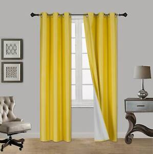 1 Set Heavy Lined Thermal Blackout Grommet Window Curtain Panel ADAM YELLOW