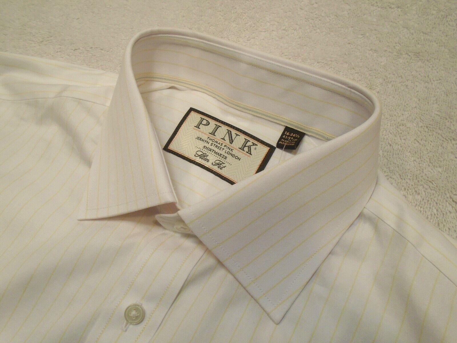 3b9440160e40 Pink Holbert White & Yellow Stripe Dress Shirt NWT 16 x 36 37 Thomas ...