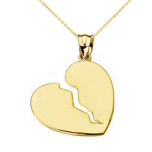 Broken heart gold pendant necklace ebay image is loading broken heart gold pendant necklace aloadofball