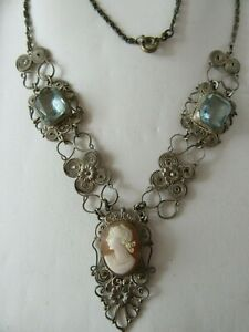 Vintage-style-necklace-silver-filigree-Cameo-and-aquamarine-blue-stones