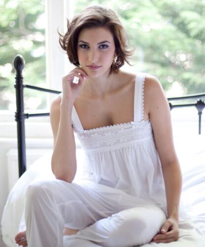 Ladies White 100/% Cotton Pyjama Set /'Hesper/' by Cottonreal ~ SIZE XS XL XXL