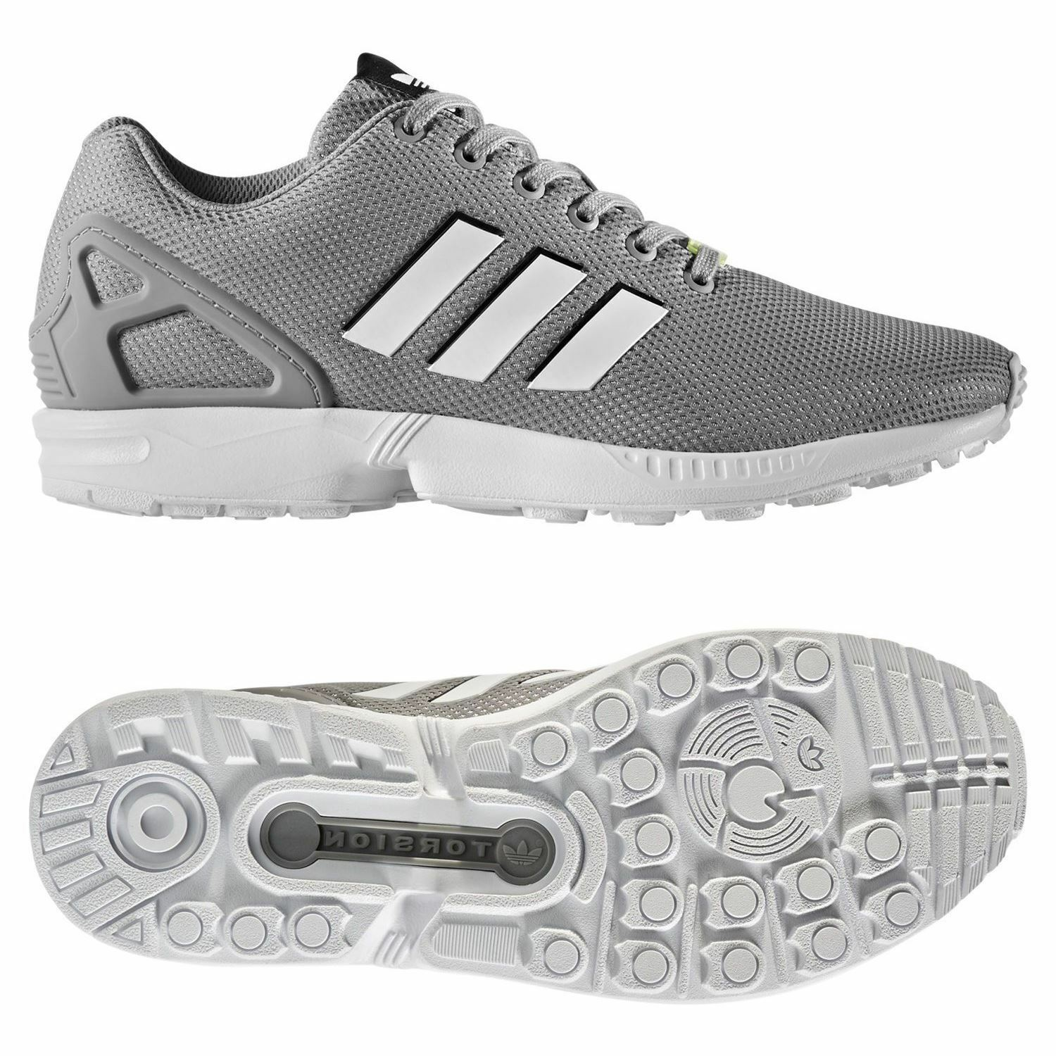 Adidas ORIGINALS MEN'S ZX FLUX RUNNING TRAINERS TRAINERS RUNNING GREY TREFOIL FITNESS GYM RUN NEW dfbe54
