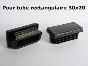 Lot de 2 embouts bouchons noirs PVC pour tube 100x80 mm rectangulaires ailette