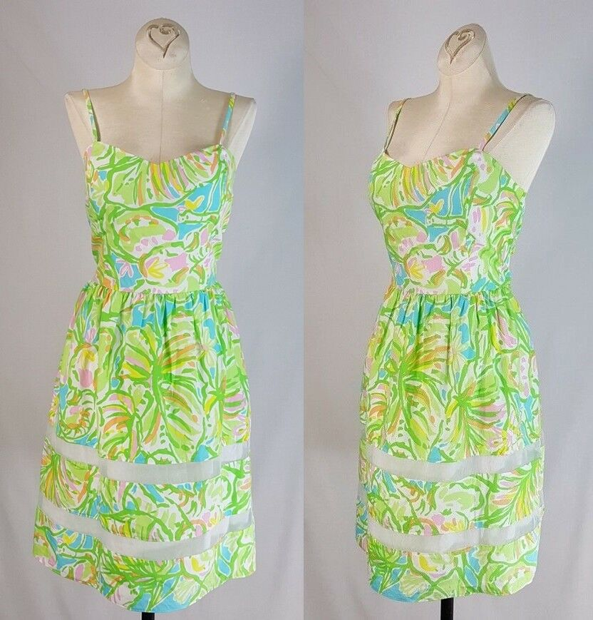 Lilly Pulitzer OLLIE Fit And Flare Dress Size 6 Floral Elephant Ears