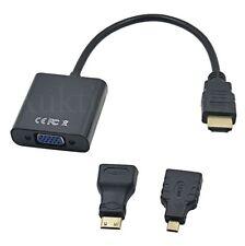 HDMI Stecker zu VGA Buchse Kabel Konverter Videokabel + Adapter 1xMicro 1xMini