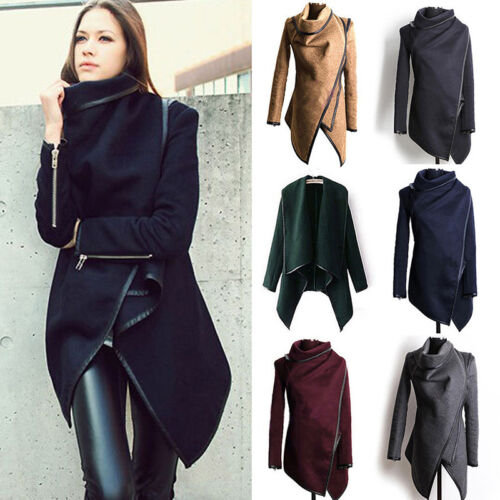 Womens Slim Winter Warm Trench Coat Long Wool Jacket Parka Cardigans Outwear BHQ