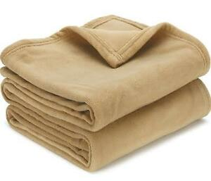 Fleece-Blanket-Super-Soft-Warm-by-Makers-Tan-colour-in-Twin-Queen-King-sizes