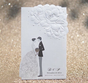 Custom Black And White Bride Groom Wedding Invitations Cards Env