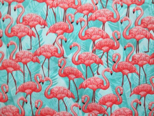 FLAMINGOS BIRDS FLAMINGO FRONDS PINK AQUA COTTON FABRIC BTHY