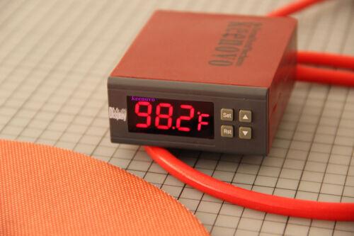 "Dia 10/"" Circular Silicone Heater Kettle Vacuum Chamber Pad w// Digital Controller"