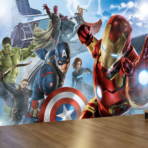 superhero wallpaper for bedroom. Image is loading Marvel Avengers Iron Man Captain America Wall Mural  Wallpaper