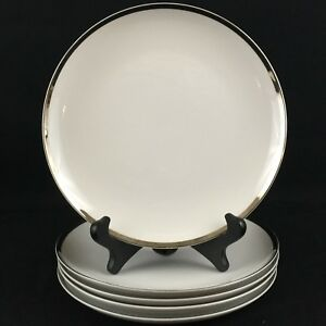 Set-of-5-VTG-Salad-Plates-7-5-8-034-by-Sango-Fine-China-Pallas-Platinum-Trim-Japan