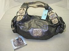 NEW KATHY VAN ZEELAND charcoal metallic logo side pocket HANDBAG