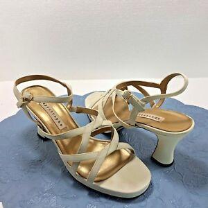 Dress-Sandals-3-1-4-034-Heels-Apostrophe-Womens-Slingback-Fabric-Shoes-Sz-8-5M