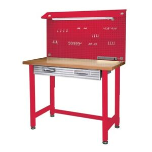 Awe Inspiring Details About Garage Workbench W Overhead Light Heavy Duty Red Work Table Wood Top Steel Work Machost Co Dining Chair Design Ideas Machostcouk