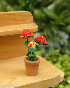 Miniature Dollhouse FAIRY GARDEN ~ Potted Red Roses Flowers in Pot ~ NEW